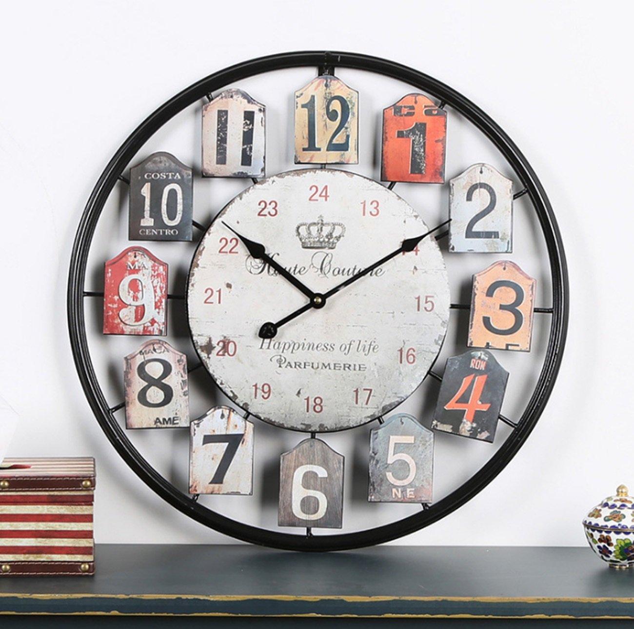 クロック ノスタルジックな鉄の中空ウォールクロック、古いミュートの掛け時計を行うレトロカラフルなアラビア数字の壁の装飾時計バー/カフェ/リビングルーム(50 * 50センチメートル) ウォールオーナメント B07F5NDXV8