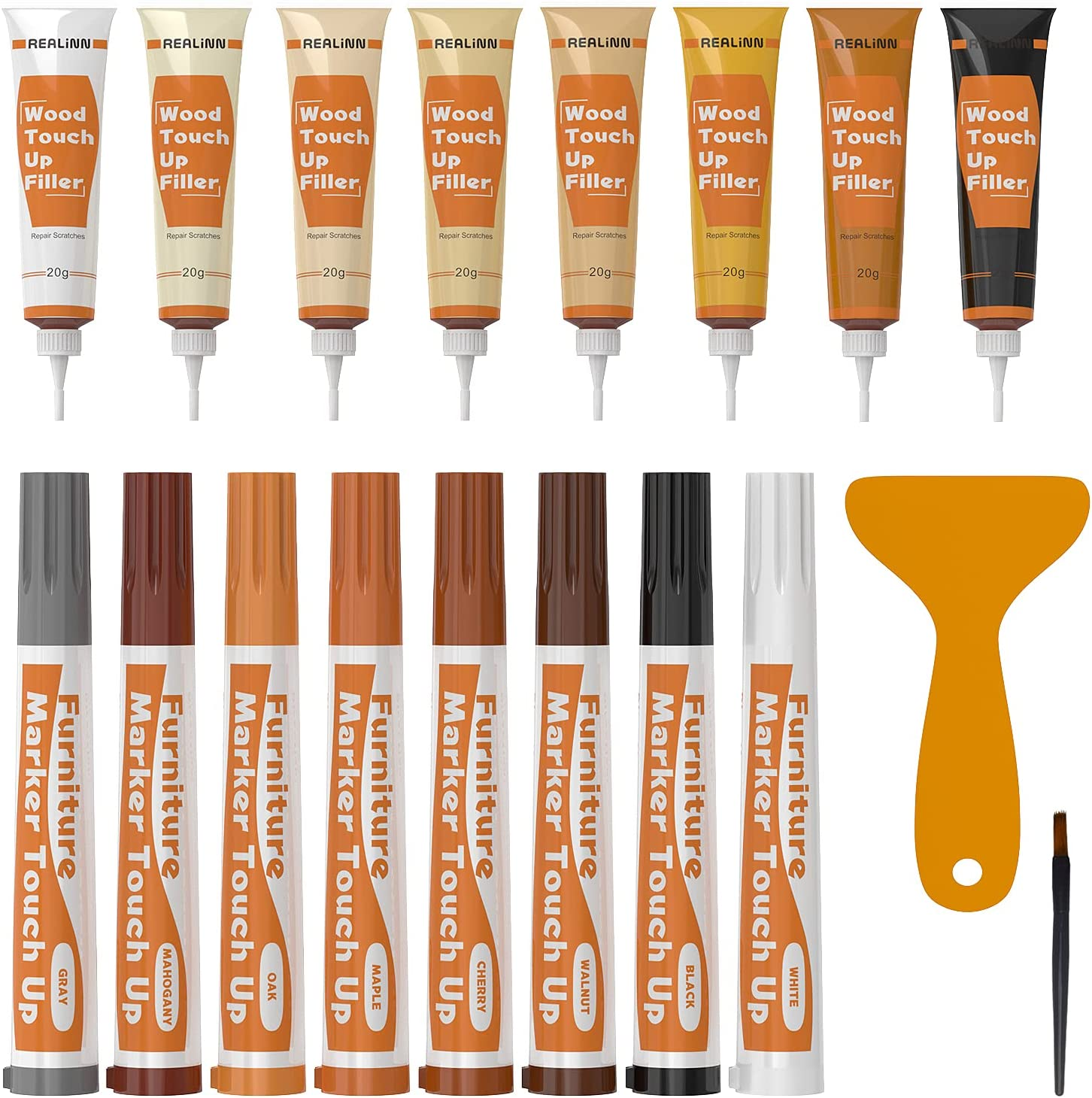 REALINN Wood Furniture Repair Kit 8 Light Colors- Wood Fillers and Touch Up Markers, Repair Scratch, Cracks, Discoloration for Wooden Door, Floor, Table, Cabinet