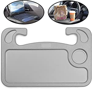 Lebogner Car Steering Wheel Desk, Laptop, Tablet, iPad, Notebook Auto Travel Table, Food Eating Hook On Steering Wheel Tray, Great Gift For Constant Travelers, Fits Most Vehicles Steering Wheels, Grey