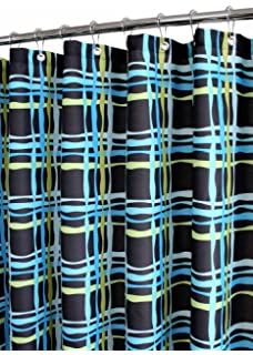 Park B. Smith Wavy Plaid Watershed Shower Curtain, Black/Watercolor