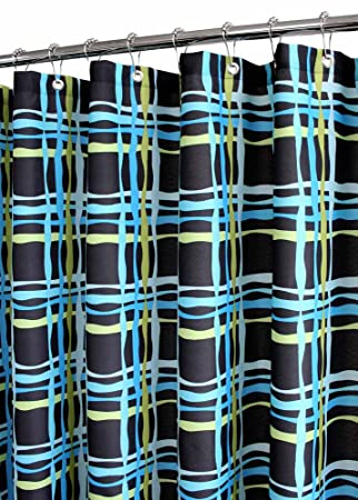 Park B Smith Wavy Plaid Watershed Shower Curtain Black Watercolor