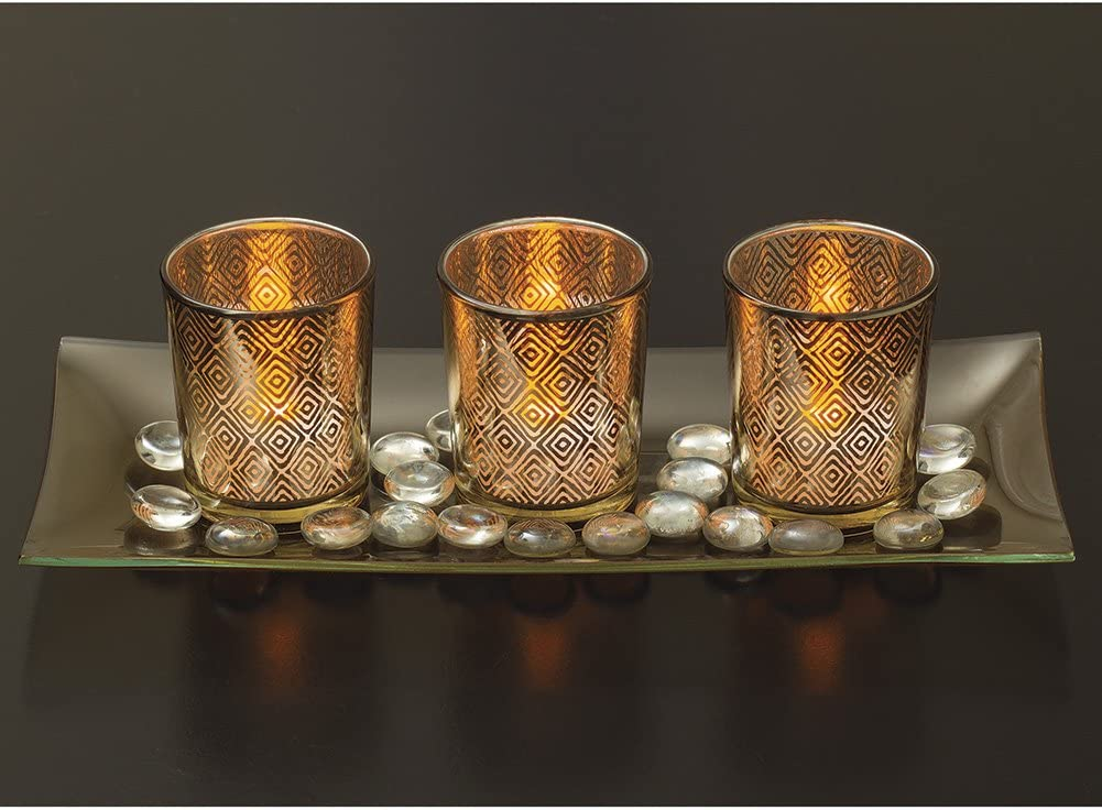 Dawhud Direct Decorative Glass Candle Holder Set with LED Tealights, Ornamental Glass Stones & Glass Tray