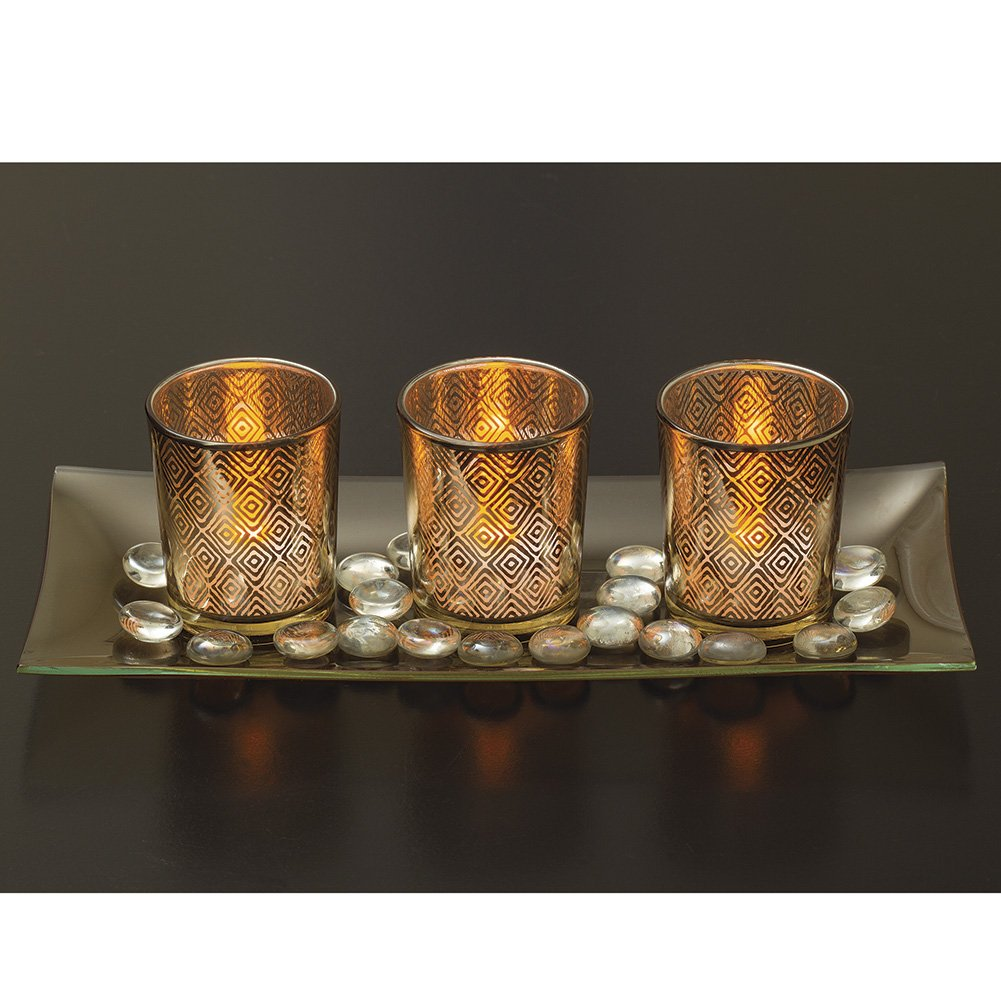 Decorative Glass Candle Holder Set with LED Tealights, Ornamental Glass Stones & Glass Tray DHE-735