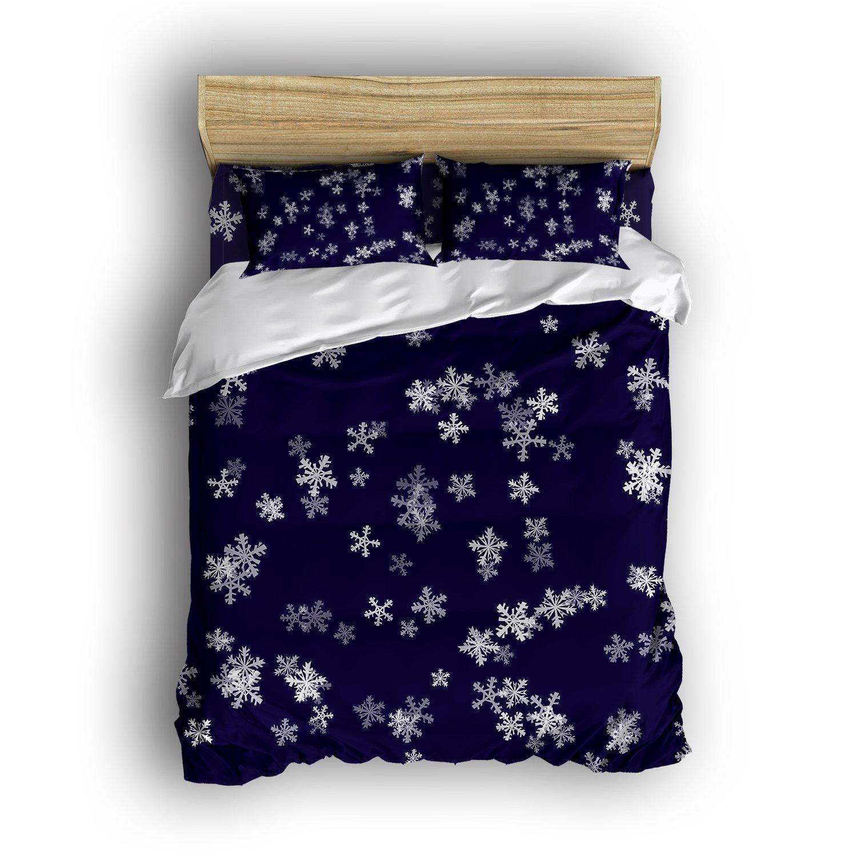 ファミリ装飾ホーム寝具セットSnow Fallingスタイル印刷ベッドスプレッドSets Lovelyティーンガールズ4個掛け布団セット布団カバー、フラットシート、シャムセット4pieces、ダークブルー ツイン 629jgfjsddLSZset23-1 B073GZ3H35