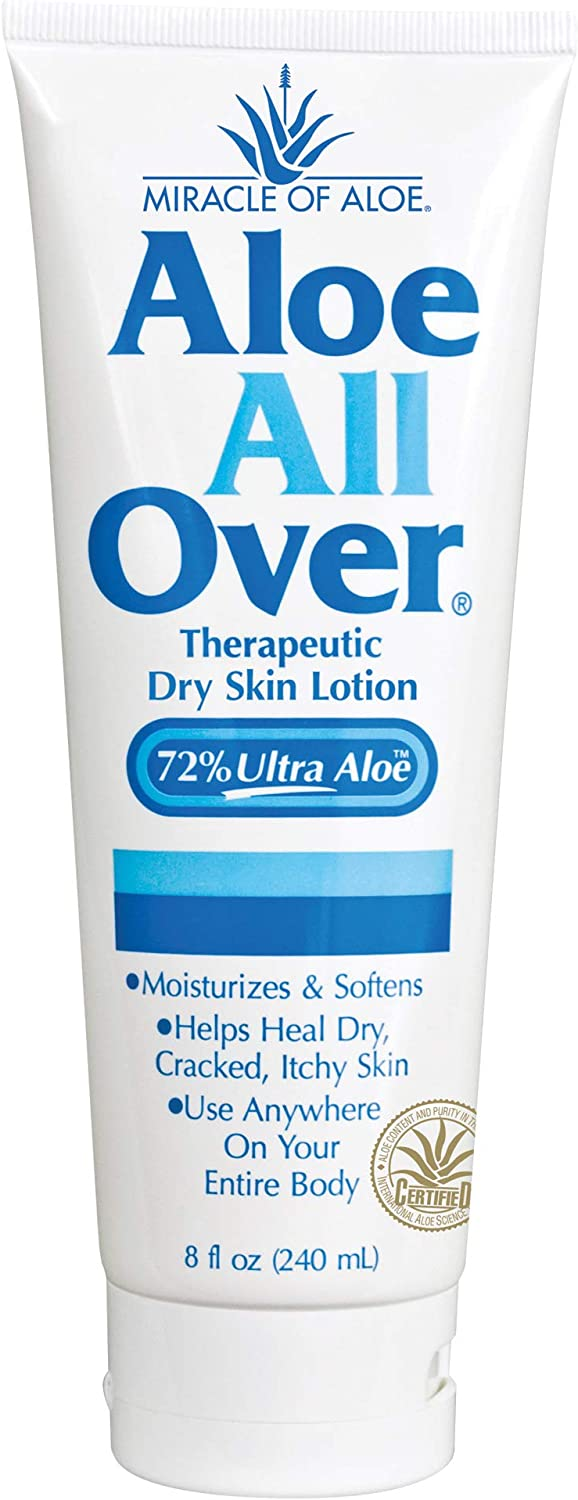 Aloe All Over Super Moisturizing Dry Skin Lotion 8 Ounce Tube with 72% UltraAloe Pure Aloe Vera Gel | Works Fast | Restores Dry Skin | Rich in Skin Nourishing Power | Ends Flaking