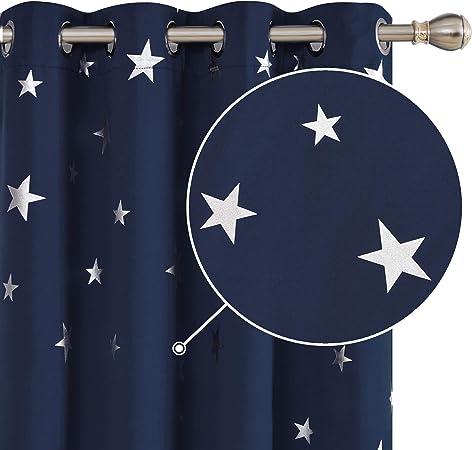 Deconovo Lot de 2 Rideaux Occultants Thermique Rideaux Motif Etoile Argenté  à oeillet pour Chambre Bebe 117x138cm Bleu Marine