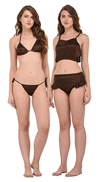a7f111a1afa7d You Forever Women s Brown Pack of 2 Bra   Panty Set  Amazon.in  Clothing    Accessories