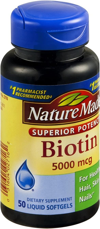 Nature Made Biotin Liquid Softgels - 5000 MCG 50 CT