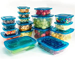 Mr. Lid Premium Food Storage Container | Convenient, Space Saving, Never Lose, Permanently Attached Plastic Lids| Made for Organized Kitchens 17 Piece