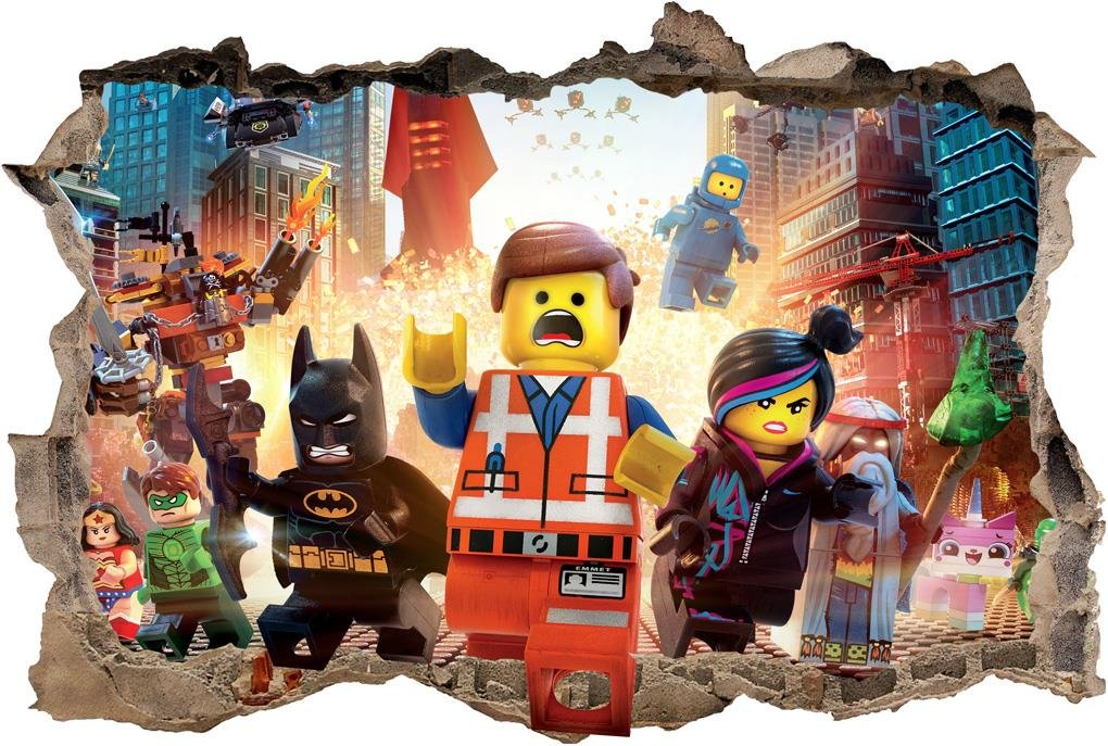 LEGO MOVIE Smashed Wall 3D Decal Removable Graphic Wall Sticker Mural Kids H152, Regular