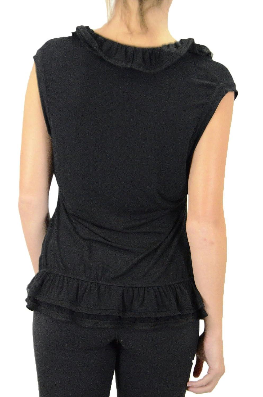 LinQ Women's Silk Trim Ruffle Top in Black, Size Medium