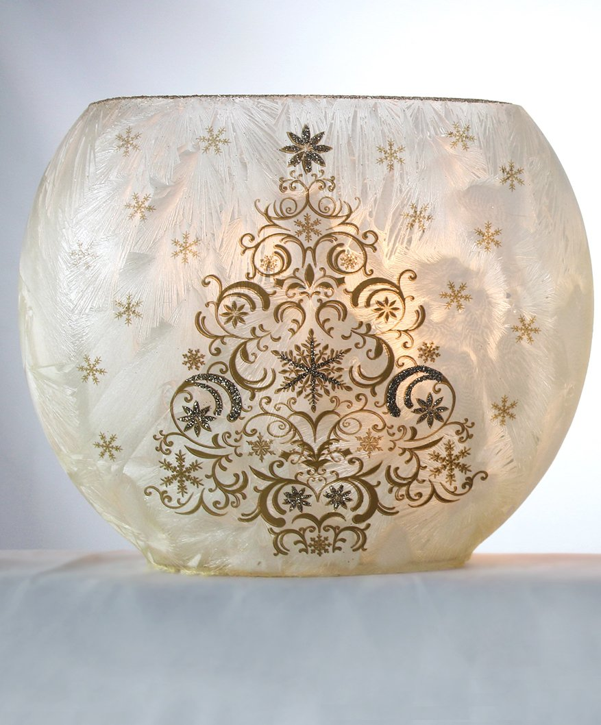 Stony Creek Nature Collection Frosted Lighted Vase (Medium Oval, Champagne Holiday Tree-B)