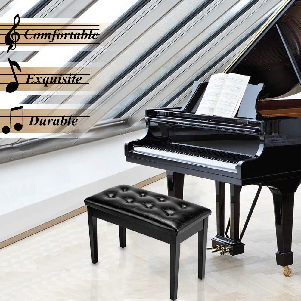 DYHQQ Banqueta de Piano de Madera Doble/dueto con Espacio de ...
