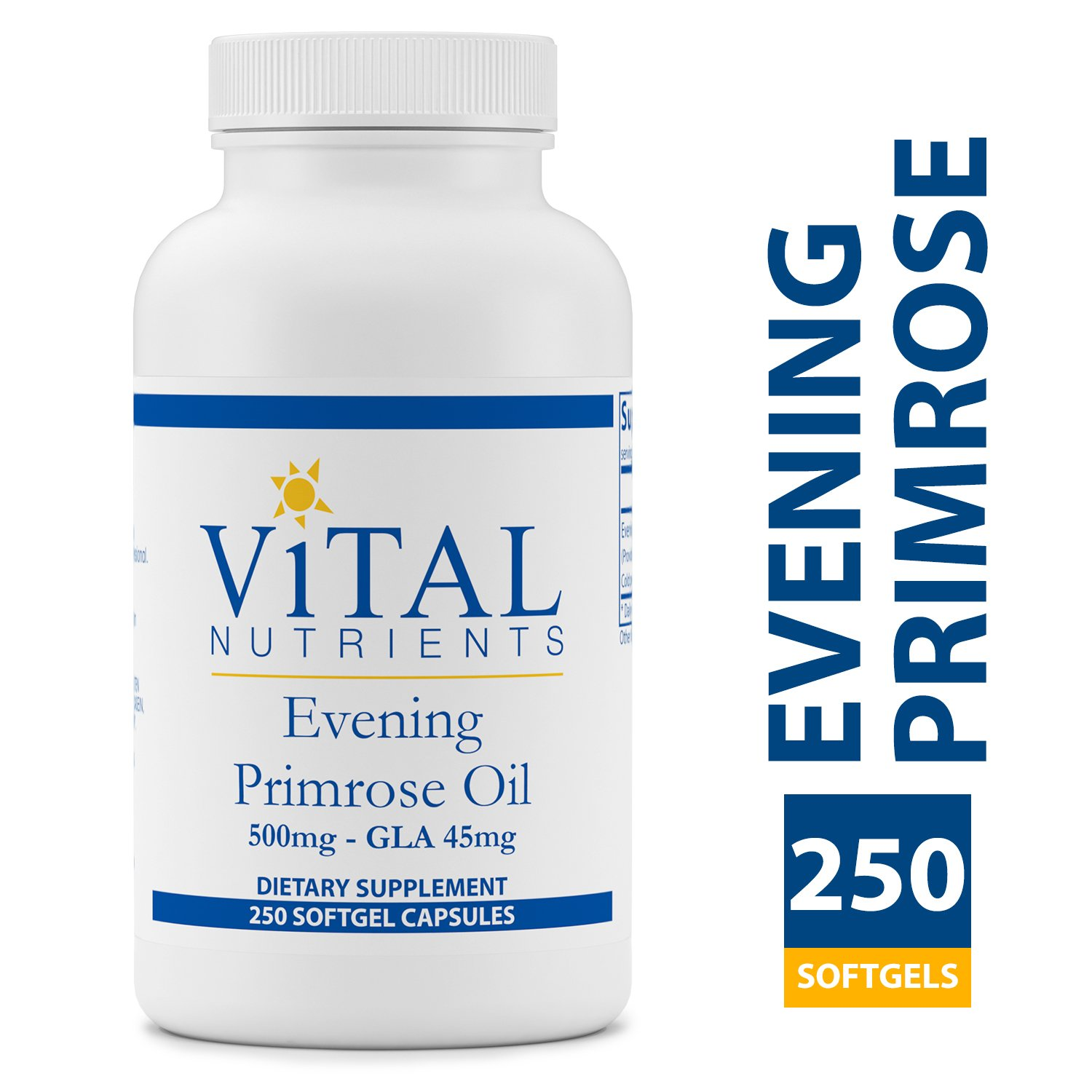 Vital Nutrients - Evening Primrose Oil 500 mg - Cold-Pressed Oil That Contains GLA, an Essential Omega-6 Fatty Acid - 250 Softgels