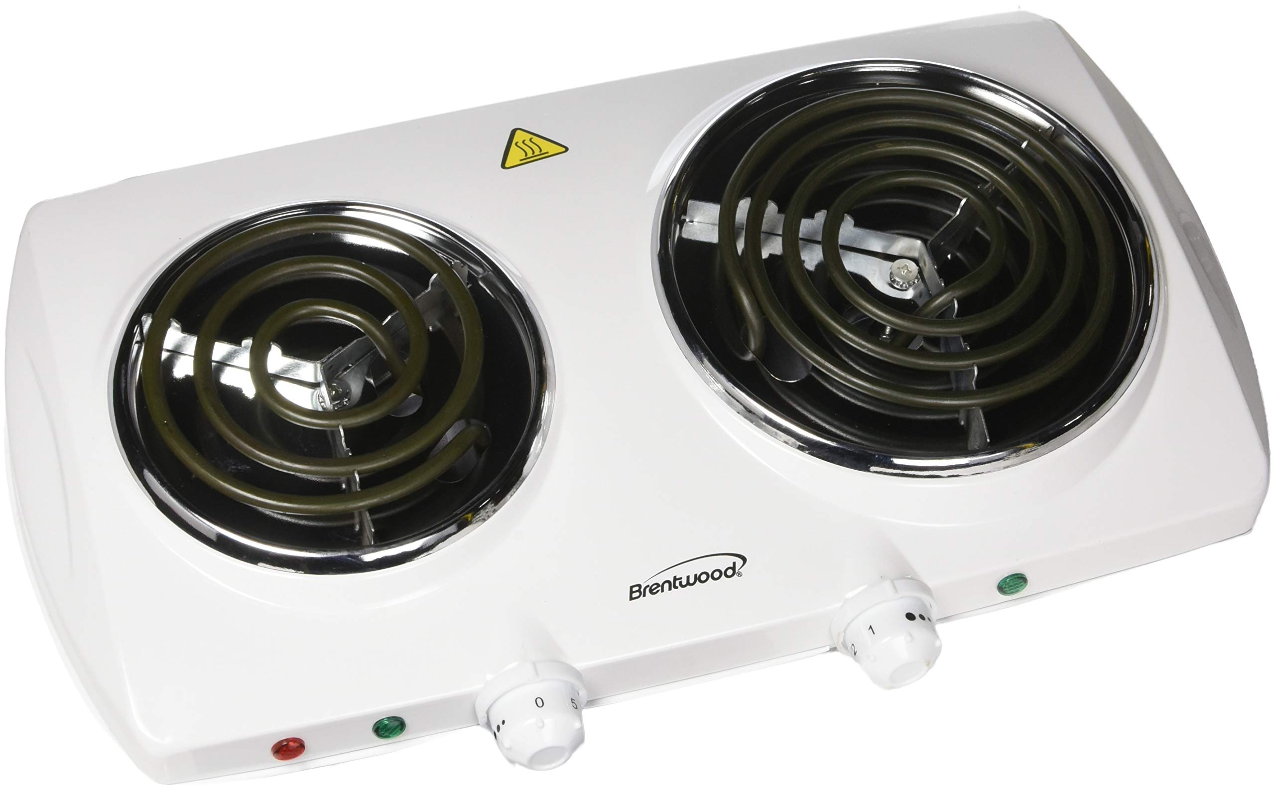 BRENTWOOD TS-368 Electric Double Burner (White) - TWO YEARS