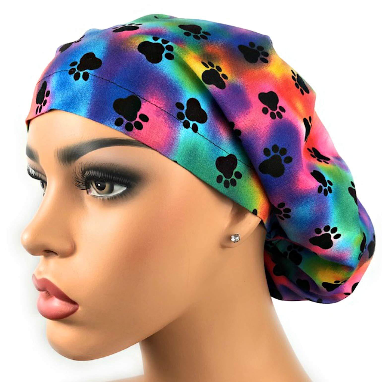 Women's Adjustable Bouffant Surgical Ponytail Cap Paw Prints Multicolor by DK Scrub Hats
