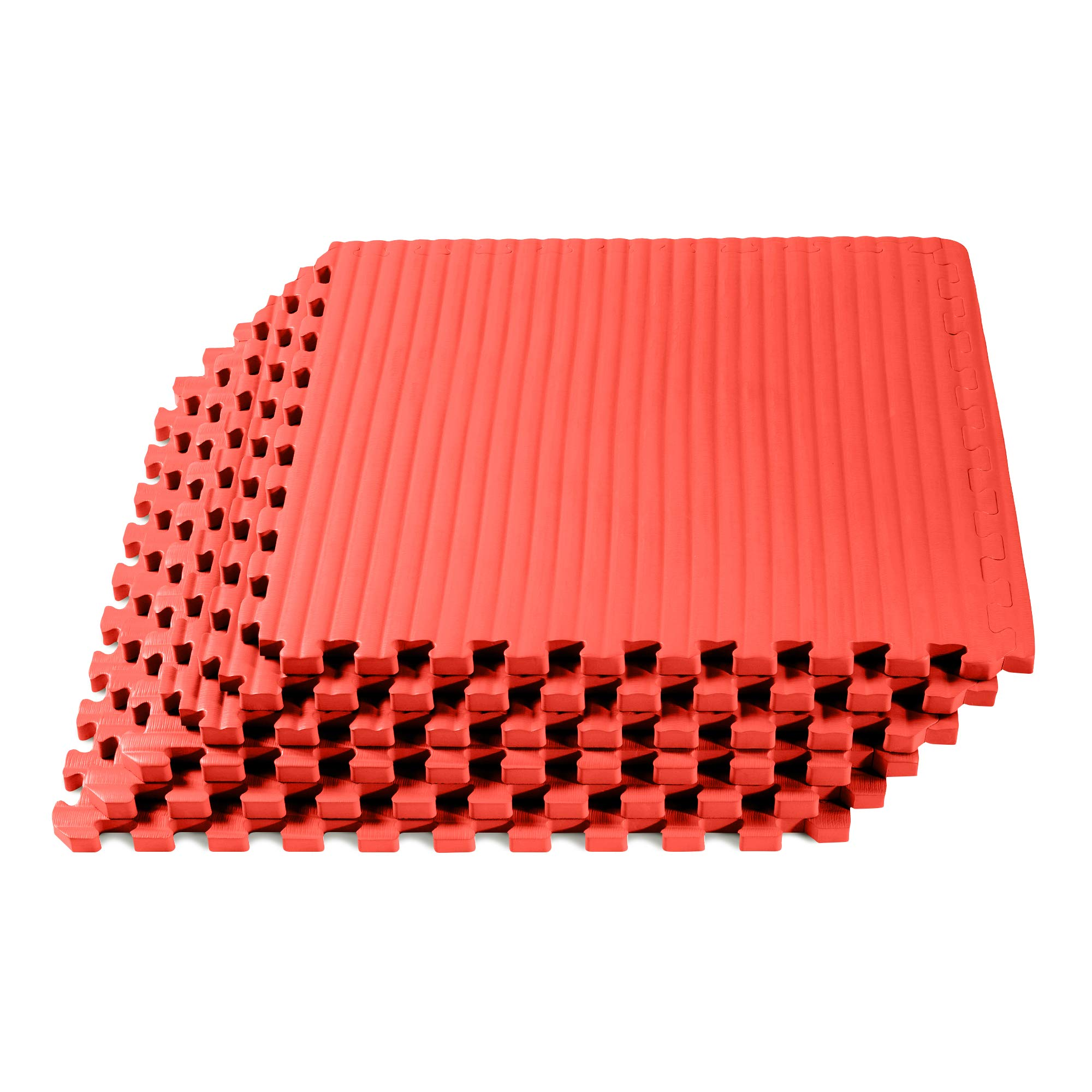 We Sell Mats Martial Arts & MMA Workout Mat, Tatami Pattern with EVA Foam, Interlocking Floor Tiles Tiles, Anti-Fatigue Support, 24 x 24 x 3/4 inch, Red, 120 Square Feet (30 Tiles)