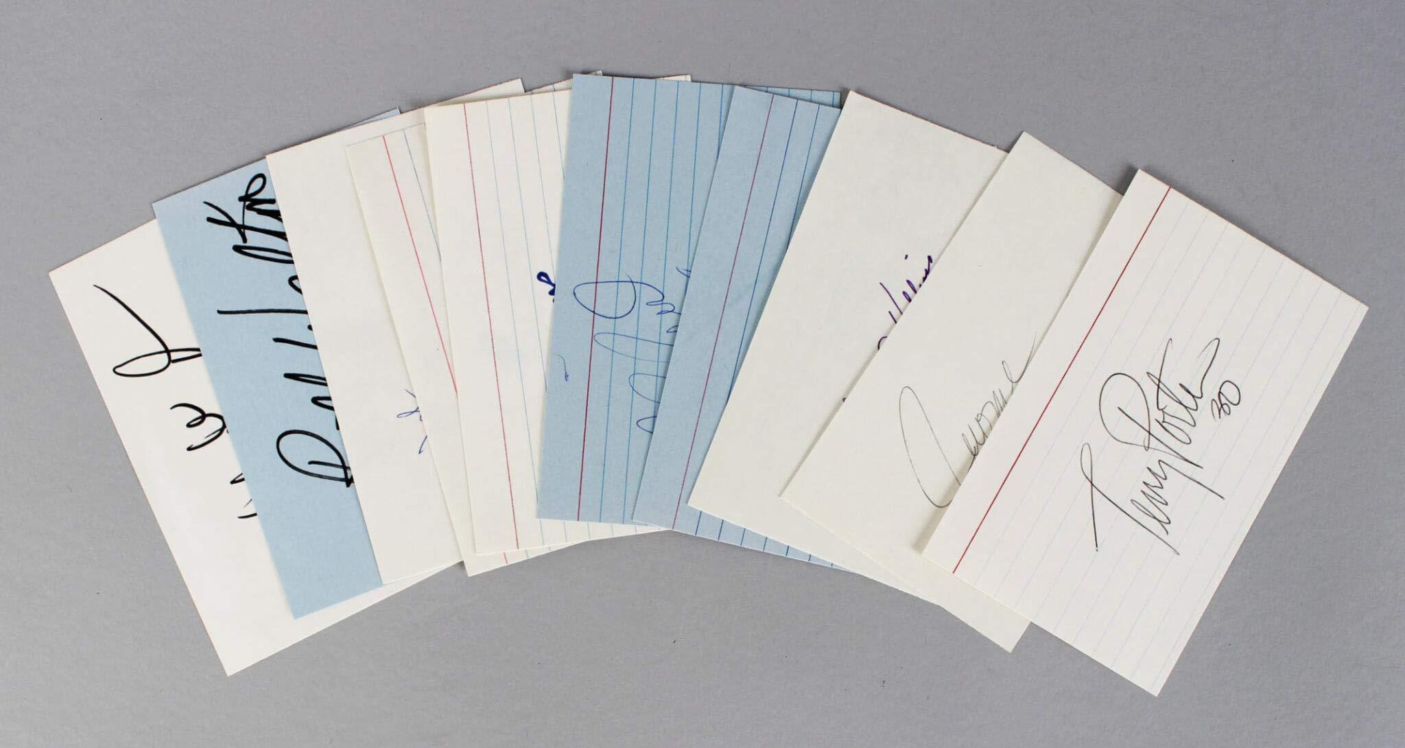 Trailblazers Signed Index Card Lot (10) Bill Walton, Clyde Drexler, etc. COA JSA Certified NBA Cut Signatures