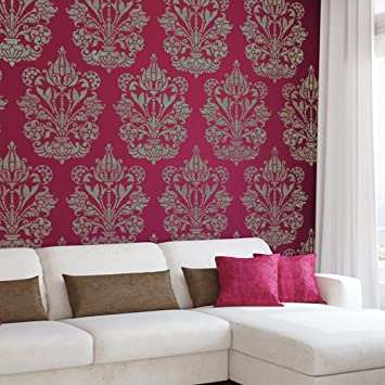 J BOUTIQUE STENCILS Large Wall Stencil Damask Allover Stencil Heather For  Easy DIY Decor Wallpaper Look Part 90