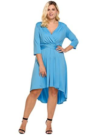 Womens Plus Size Womens 34 Sleeve Dress Ruched Waist Classy V