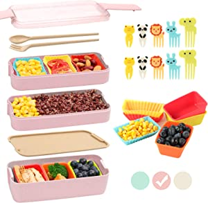 Bento Box for Kids with Silicone Cupcake Baking Cups & Food Picks for Kids,3-In-1 Compartment Lunch Box, Wheat Straw, Eco-Friendly Bento Lunch Box with Dividers Meal Prep Containers for Kids (Pink)