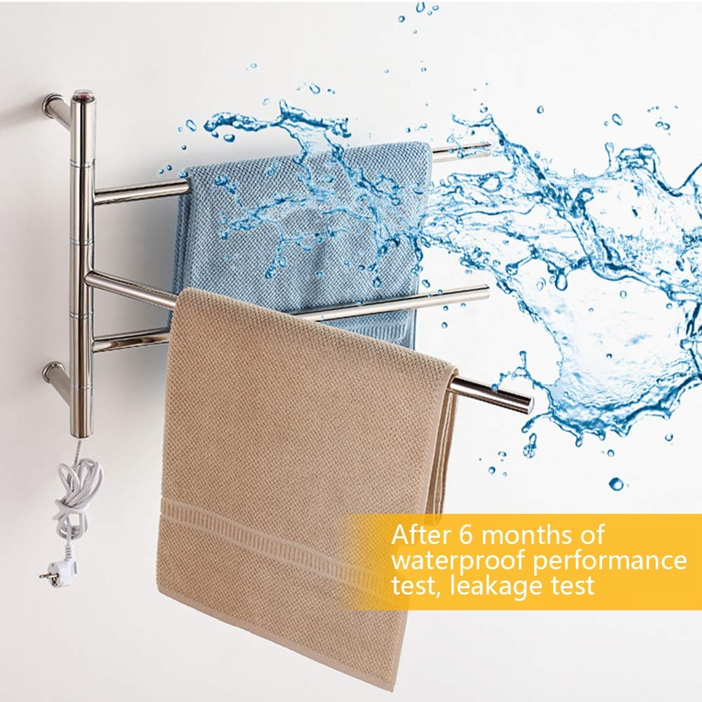 NINI Cuarto de baño toallero de Acero Inoxidable calefacción eléctrica Toalla Rack Cuarto de baño Colgando Toalla Estante Inodoro Estante 480 * 560 * 120mm: ...
