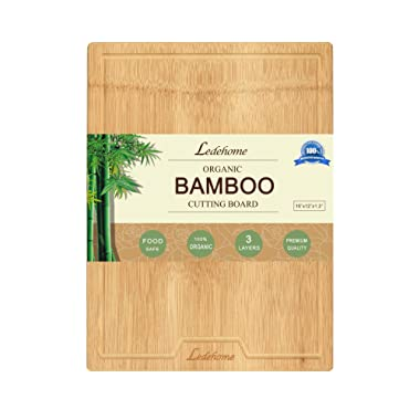 Ledehome Large Single Piece Premium Organic Bamboo Cutting Board [16  x 12  x 1.2  Thick] Chopping Block with Drip Groove for Carving Cheese,Meat,Bread,Food