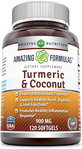 Amazing Formulas Turmeric and Coconut – 900 Milligrams – 120 Softgels Non-GMO,Gluten Free – Full of Antioxidants – Supports a Healthy Inflammation Response -Promotes Immune Function*