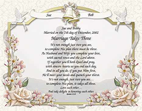 Personalized Poetry Gift Marriage Takes Three On Wedding Vows Background