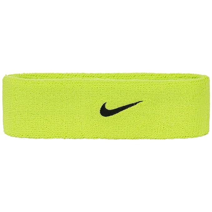 Cinta de pelo de running de marca Nike de color amarillo neón