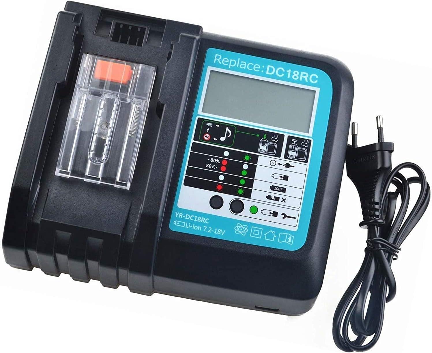 1 pi/èce de batterie de rechange 18V 5.0Ah chargeur 3.0A de rechange avec indicateur LED pour batterie Makita BL1850 BL1830 BL1840 BL1860 LXT400 et DC18RA DC18RC