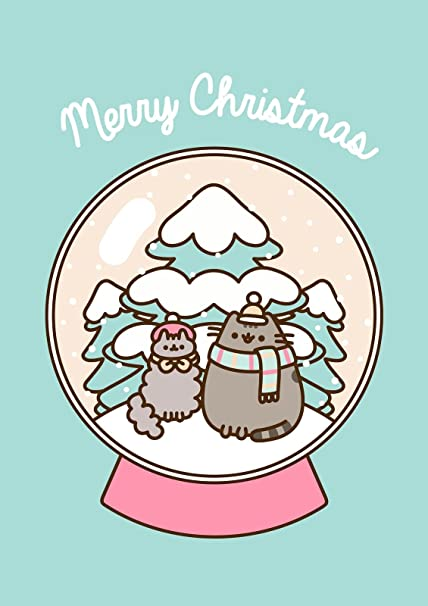 Pusheen Christmas.Pusheen The Cat Merry Christmas Globe Blank Christmas Card