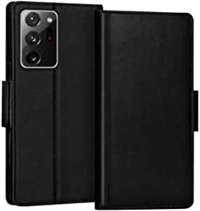 """FYY Case for Samsung Galaxy Note 20 Ultra 6.9"""", Luxury [Cowhide Genuine Leather][RFID Blocking] Wallet Case, Flip Folio Case with Kickstand Function and Card Slots for Galaxy Note 20 Ultra 6.9"""" Black"""
