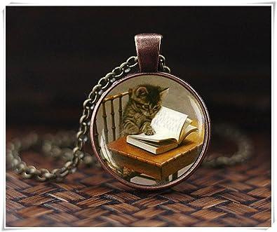 Heng Yuan Collar de Libro de Lectura para Gatos, Colgante para Gato, Collar para Gato, Collar para Amante del Libro, Joyería de Libros,: Amazon.es: Joyería