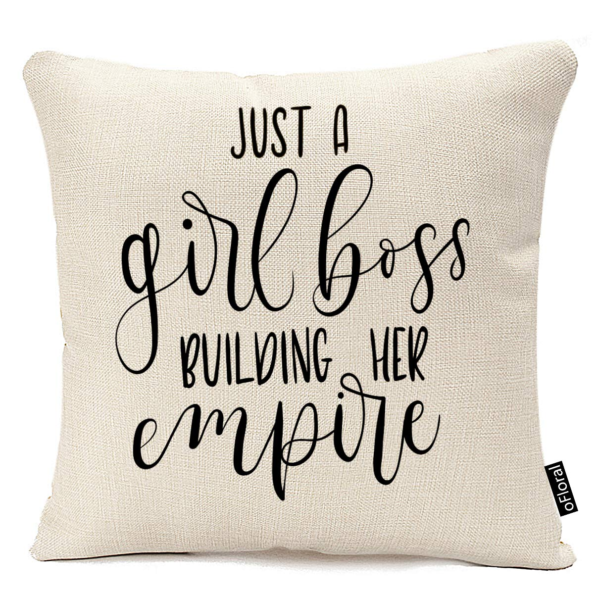 oFloral Throw Pillow Covers 18 X 18 Inch Just Girl Boss Building Her Empire Inspirational Phrase Modern Feminism Quote Lettering Pillow Case Cushion Cotton Linen Home Decor Pillowcase