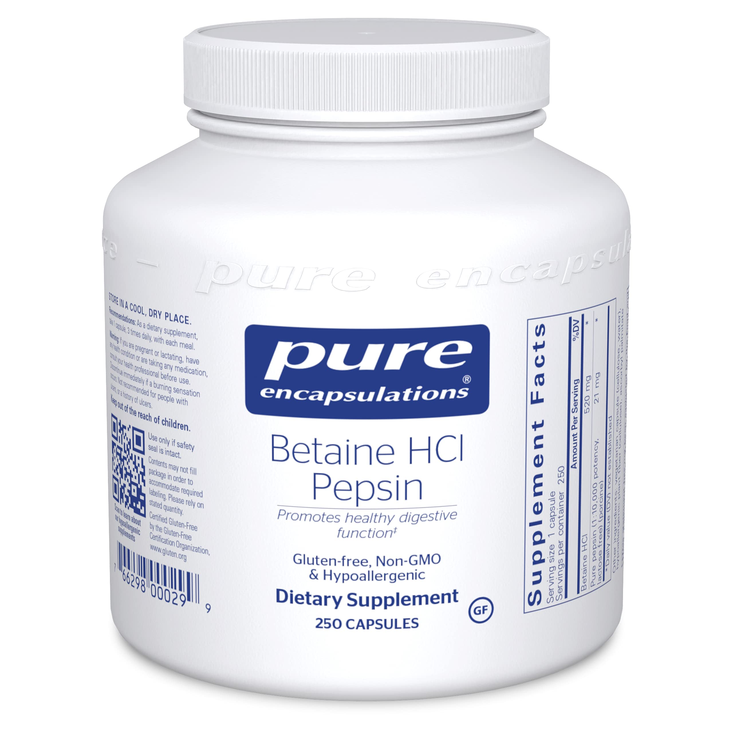 Pure Encapsulations Betaine HCl Pepsin   Digestive Enzyme Supplement for Digestive Aid and Support, Stomach Acid, and Nutrient Absorption*   250 Capsules