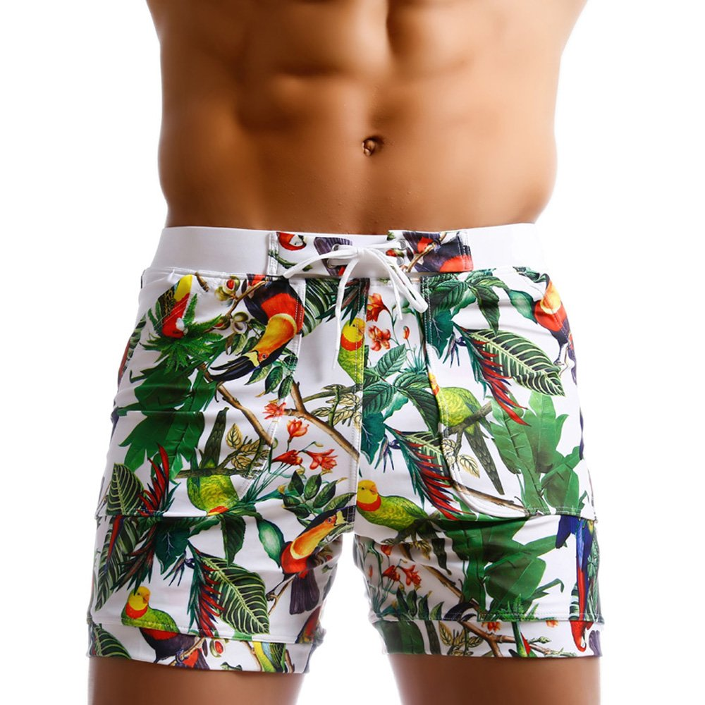 Taddlee Men Swimwear Swimsuits Flower Print Surf Board Boxer Shorts Trunks Long Foshan Xiongfeng Clothing Co. Ltd