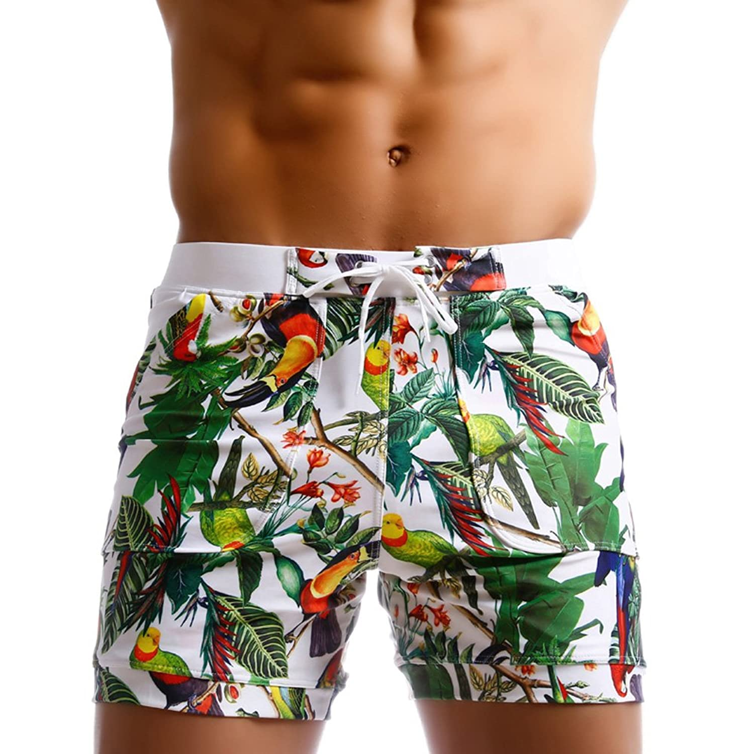 Men Swimwear Swimsuits Flower Print Surf Board Boxer Shorts Trunks Long
