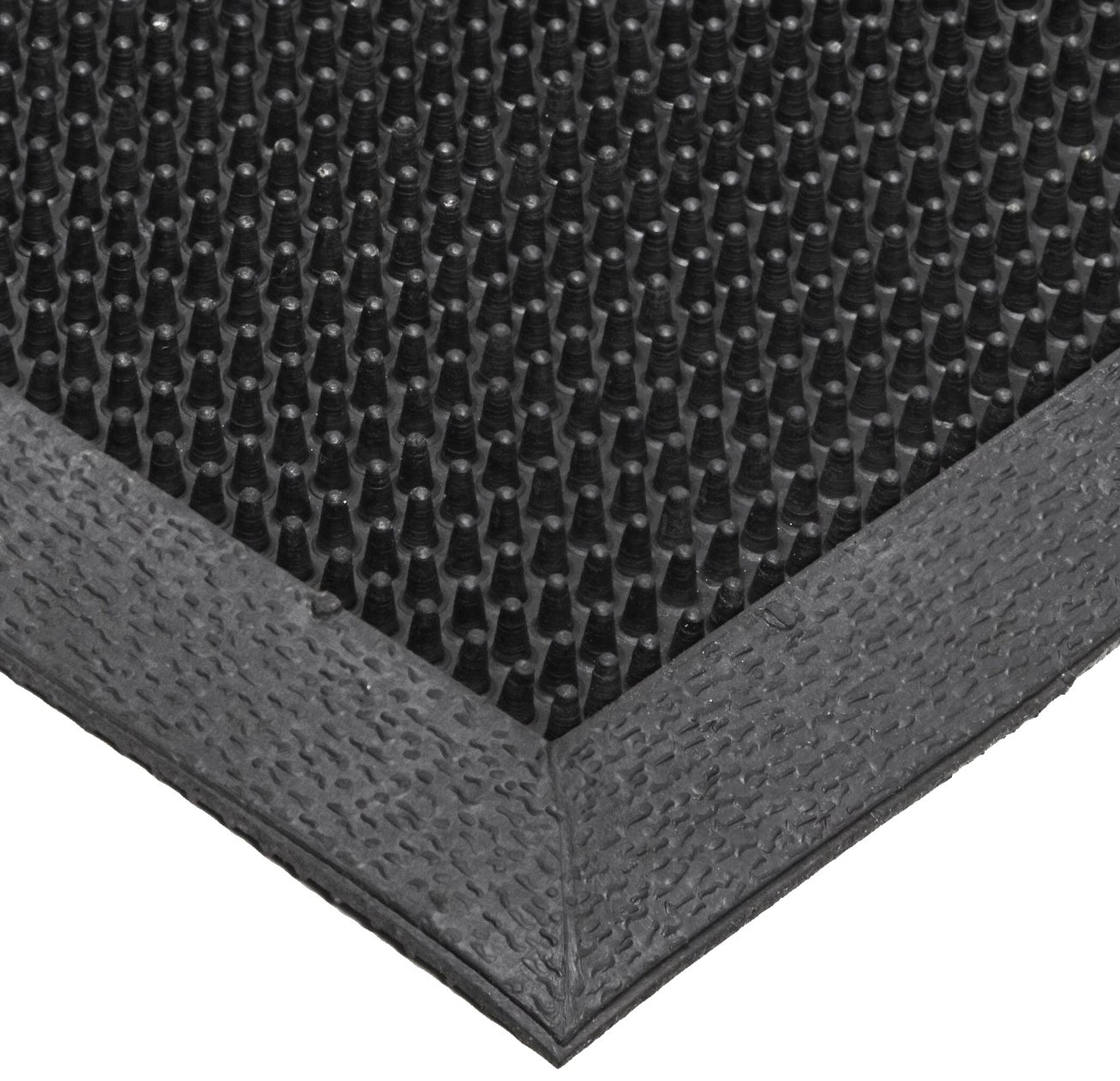 NoTrax T28 SBR Rubber Finger Scrape Entrance Mat, for Wet and Dry Areas, 36'' Width x 72'' Length x 3/8'' Thickness, Black