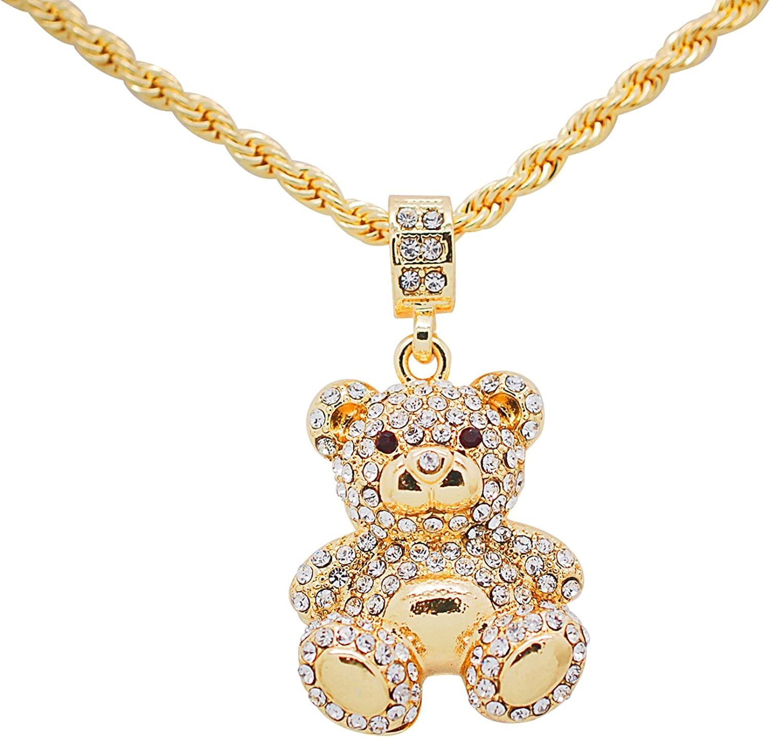 Gold Silver Woman Lady Bear Pendant Crystal Chain Necklace Earrings Jewelry Set