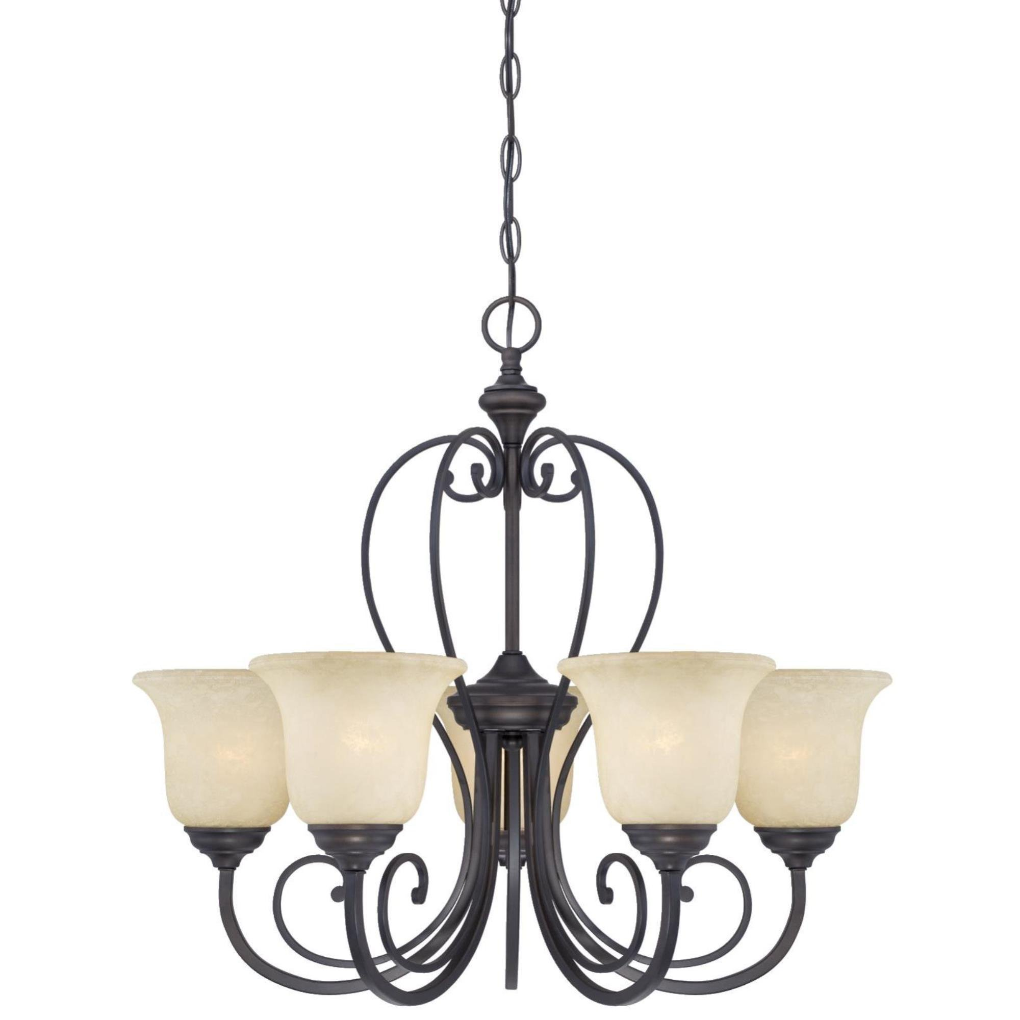 Westinghouse 6340700 Callan Five-Light Indoor Chandelier, Oil Rubbed Bronze Finish with Caramel Scavo Glass