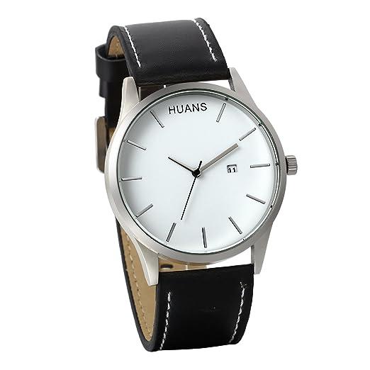 JewelryWe Reloj de Hombre Caballero, Minimalistas Relojes de Cuero de Negocio, Grande Reloj Blanco