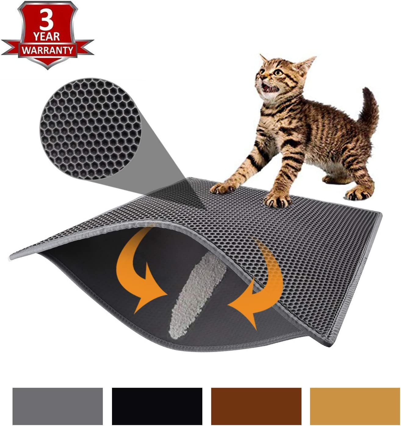 """kaxionage Cat Litter Mat Litter Trapping Mat, 30"""" X 24"""" Inch, Honeycomb Double-Layer Design Waterproof Urine Proof Material, Easy Clean Scatter Control"""