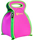 Convertible Neoprene Flatbox Lunch Box & Placemat for School, the Office and Travel - Machine Washable Lunch Tote for Easy Clean & Germ-free Meals; Regular Hot Pink / Green