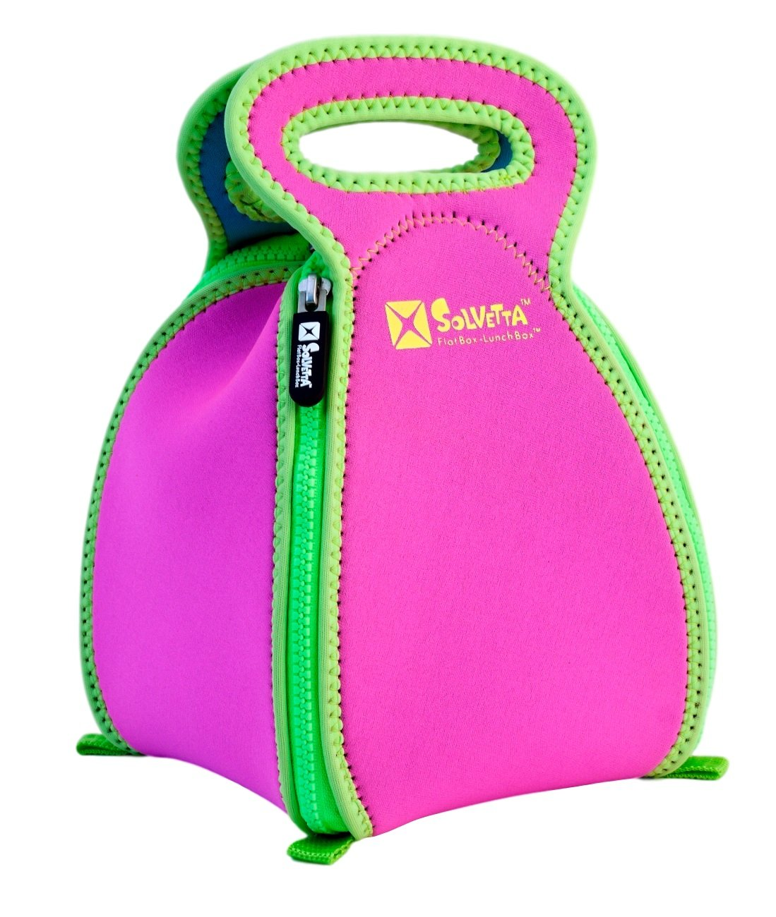 Smart Neoprene Lunch Box that Converts to a Placemat - For Kids School or Office, Machine Washable, Lightweight and Insulated! LARGE Hot Pink/Green