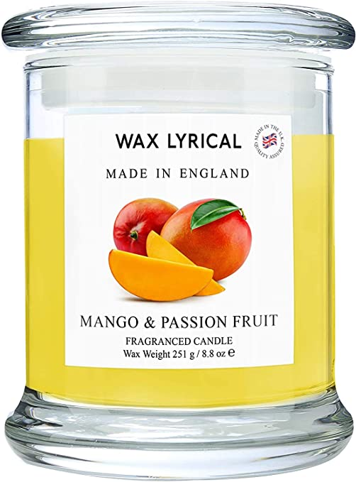 Amazon Com Wax Lyrical Made In England Collection Mango And Passionfruit Scented Glass Jar Candle With Lid Burns Up To 65 Hours Home Improvement