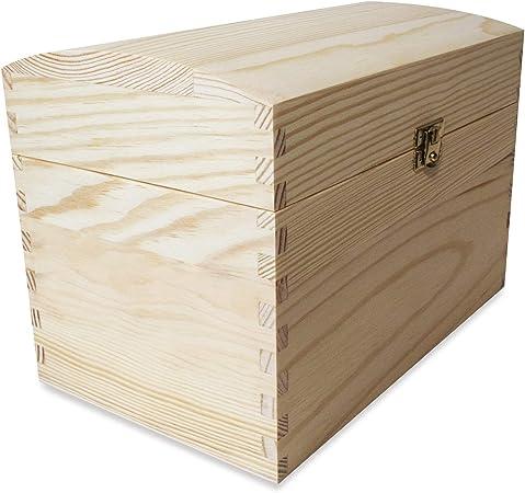 Creative Deco Cofre Caja Madera | 25 x 15 x 17 cm | con Cierre de Metal y Tapa Redondeada | Decoración Decoupage Almacenaje de Documentos Objetos de Valor Juguetes: Amazon.es: Hogar