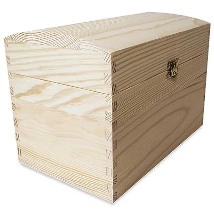 Creative Deco Cofre Caja Madera con Curvo Tapa | 25 x 15 x 17 cm |
