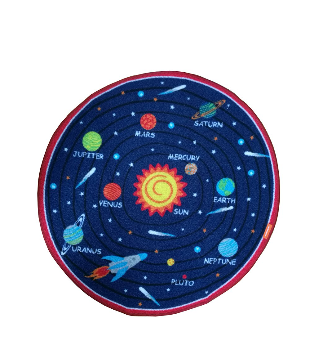JACKSON Non Slip Kids Play Rug Early Education Children Carpet Washable Microfiber Fun Area Soft Floor Mat with Non-Skid Rubber Backing 32'' Round Multi-Color (SOLAR SYSTEM)