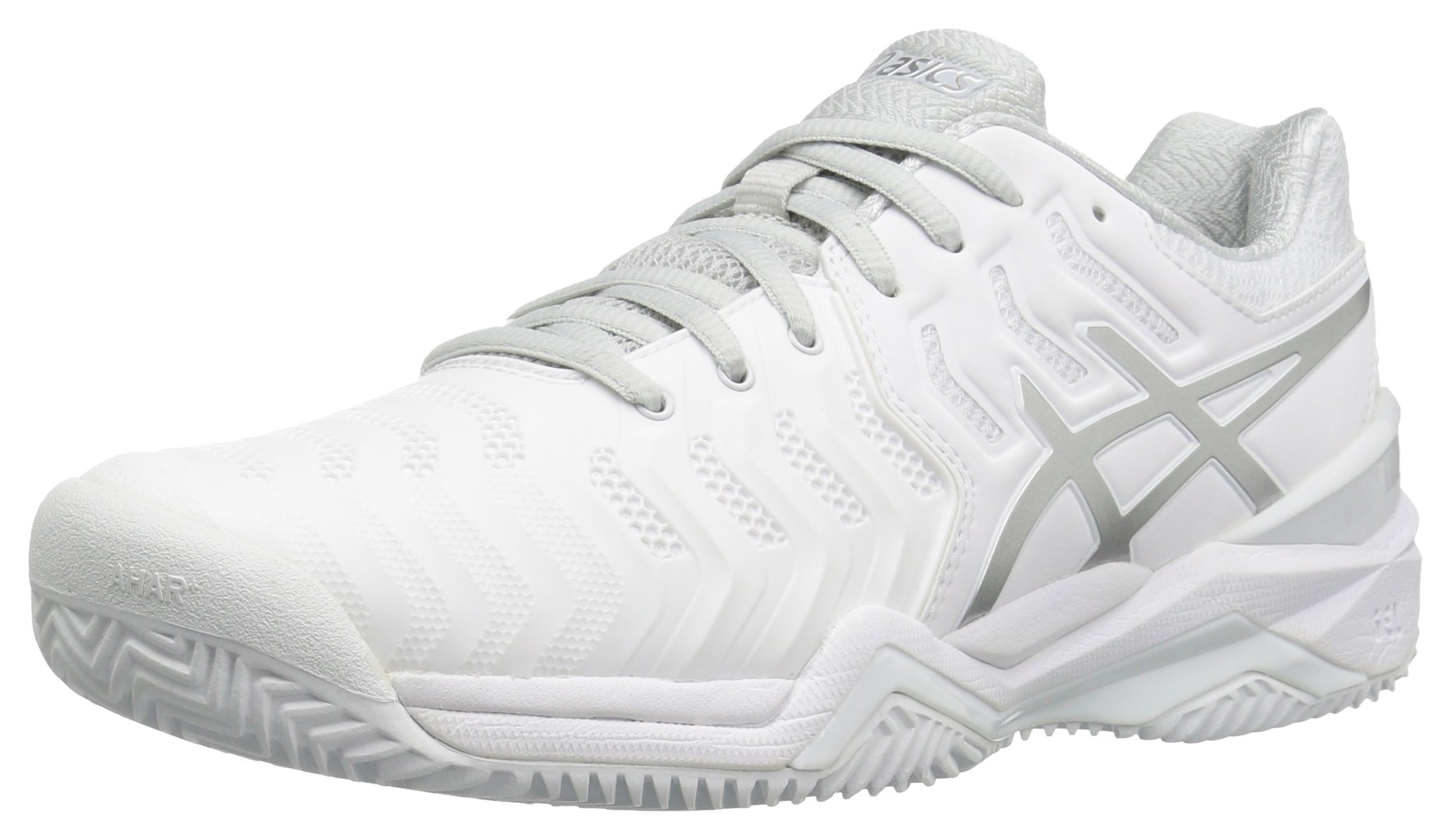 ASICS Women's Gel-Resolution 7 Clay Court Tennis Shoe, White/Silver, 5 M US